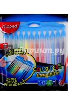 Фломастеры, 12 цветов COLORPEPS LONG LIFE (845045)Фломастеры 12 цветов (9—14)<br>Набор фломастеров.<br>12 цветов.<br>Смываемые.<br>Заблокированный пишущий узел.<br>Упаковка: пакет с подвесом.<br>Сделано в Китае.<br>