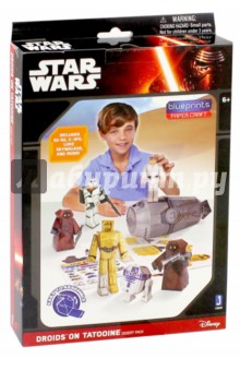 Конструктор из бумаги Star Wars. Droids on Tatooine (12900)3D модели из бумаги<br>Конструктор из бумаги.<br>В комплекте: RD-D2, C-3PO, Люк Скайуокер, Штурмовик с бластером, Джавы с бластерами - 2 шт., Спасательная капсула, Наклейки - 24 шт., инструкция по сборке.<br>Не рекомендовано детям младше 3-х лет. Содержит мелкие детали.<br>Для детей старше 6-ти лет.<br>Сделано в Китае.<br>
