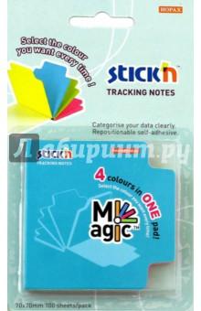 Блок для записей самоклеящийся Magic (100 листов, 70x70 мм, 4 неоновых цвета) (21560)Бумага для записей с липким слоем<br>Блок для записей самоклеящийся бумажный, с вырубкой.<br>В наборе 4 неоновых цвета по 25 листов.<br>Размер: 70х70 мм.<br>Плотность: 70 г/м2.<br>Изготовлено в Китае.<br>
