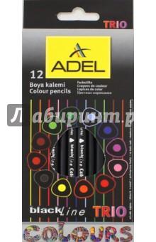 Карандаши цветные Blackline TRIO (12 цветов, трехгранные) (211-3316-000)Цветные карандаши 12 цветов (9—14)<br>Карандаши цветные.<br>В наборе 12 цветов.<br>Характеристики: <br>- специальное черное дерево<br>- качественный грифель (диаметр 3 мм)<br>- яркие цвета<br>- легкое затачивание<br>- трехгранный корпус<br>- цвета смешиваются<br>Упаковка: картонная коробка с европодвесом.<br>Сделано в Турции.<br>