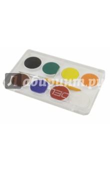 Краски акварельные Colour (8 цветов, сухие) (229-0911-000)Краски акварельные 6 цветов (1—8)<br>Краски акварельные, сухие.<br>В наборе 8 цветов, кисть №3.<br>Диаметр: 24 мм<br>Упаковка: пластиковая коробка с европодвесом.<br>Сделано в Турции.<br>