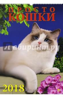 Календарь на 2018 год Просто кошки (породы) (12810)Настенные календари<br>Календарь на 2018 год, настенный, ежемесячный.<br>Бумага мелованная.<br>Обложка глянцевая.<br>Формат: 350х500 мм.<br>Крепление: пружина.<br>Количество листов: 6. <br>Сделано в России.<br>