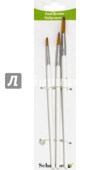 Набор кистей 3шт (синтетика № 2,4,6) круг.(S 1715)Набор кистей<br>Набор кистей нейлоновых круглых 3 шт. №2,4,6, с деревянной рукояткой белого цвета<br>Состав: древесина, металл, нейлон.<br>Производитель: КНР.<br>