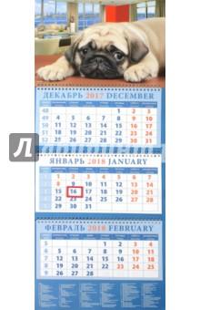 Календарь квартальный на 2018 год Год собаки. В ожидании хозяина (14820)Квартальные календари<br>Календарь на 2018 год, настенный, квартальный с пиколло и курсором для выделения текущей даты.<br>Бумага офсетная<br>Обложка глянцевая.<br>Крепление: спираль.<br>Формат: 320х780 мм.<br>Сделано в России.<br>
