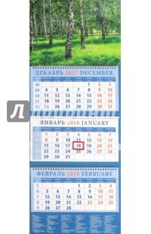 Календарь квартальный на 2018 год Березовая роща (14850)Квартальные календари<br>Календарь на 2018 год, настенный, квартальный с пиколло и курсором для выделения текущей даты.<br>Бумага офсетная<br>Обложка глянцевая.<br>Крепление: спираль.<br>Формат: 320х780 мм.<br>Сделано в России.<br>