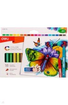 Восковые мелки Color Emotion (18 цветов, трехгранные) (EC20010)Мелки восковые<br>Мелки восковые трехгранные. 18 цветов.<br>Коробка/европод.<br>Сделано в Китае.<br>