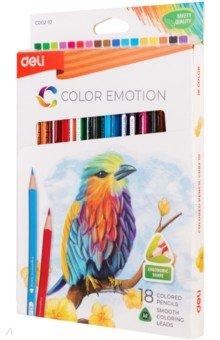 Карандаши Color Emotion (18 цветов, трехгранные) (EC00210)Цветные карандаши 18 цветов (15—20)<br>Карандаши цветные трехгранные. 18 цветов. Липа.<br>Коробка/европод.<br>Сделано в Китае.<br>