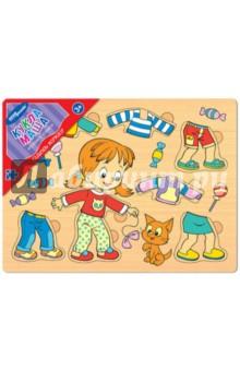 Игра из дерева Одень куклу. Кукла Маша (89303)Развивающие рамки<br>Игра настольная развивающая из дерева.<br>Экологически чистая и безопасная игрушка. Положительно влияет на развитие мелкой моторики и сенсорное восприятие ребёнка.<br>Комплектность: рамка-основа, 7 деталей.<br>Сделано в России.<br>