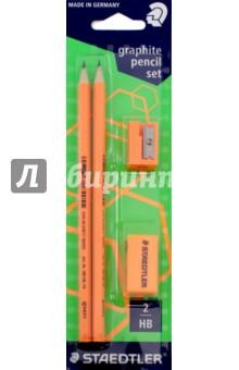 Набор чернографитных карандашей Wopex (2 штуки, HB) (180FSBK2P2)Наборы карандашей<br>Набор чернографитных карандашей Wopex.<br>В наборе: карандаши -  2 штуки, HB, точилка, ластик.<br>Цвет: неон оранжевый.<br>Сделано в Германии.<br>