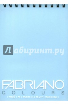 Блокнот 100 листов,  А5, Writing Colors,  небесный (41482104)Альбомы/папки для профессионального рисования<br>Альбом для графики Fabriano Writing Colors.<br>Размер: 14,8х21 см.<br>Крепление: двойная спираль.<br>Количестово листов: 100.  <br>Цвет бумаги: небесный.<br>Плотность: 80 г/м.<br>Сделано в Италии.<br>
