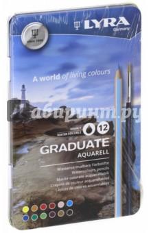 Карандаши акварельные, 12 цветов Graduate (L2881120)Цветные карандаши 12 цветов (9—14)<br>Акварельные цветные карандаши, 12 шт. <br>Гексагональные. <br>Диаметр грифеля 3,3 мм. <br>Насыщенные, богатые цвета. <br>Сертифицированная древесина. <br>Металлический пенал.<br>Сделано в Германии<br>