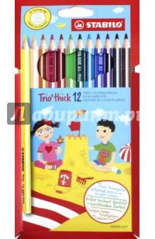 Карандаши 12 цветов Trio трехгранные, утолщенные (181105)Наборы карандашей<br>Карандаши цветные утолщенные STABILO Trio, 12 цветов, грифель 4,2 мм, трехгранные, заточенные, 203/12<br>Сделано в Чешской Республике<br>