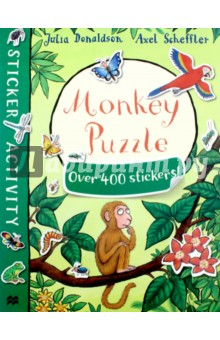 Monkey Puzzle. Sticker BookЛитература на иностранном языке для детей<br>Poor Monkey has lost his mum! Join him and Butterfly as they search for her and meet lots of jungle animals along the way in this must-have sticker book based on the bestselling Monkey Puzzle. Packed with games, activities and hundreds of stickers, this book is perfect for birthdays, rainy days and school holidays - a great gift for any child. Monkey Puzzle Sticker Book comes from the award-winning creators of The Gruffalo, Julia Donaldson and Axel Scheffler.<br>