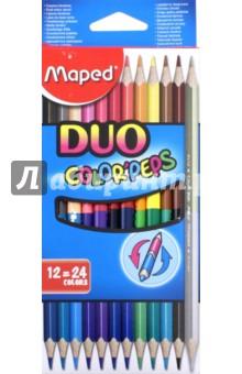Карандаши цветные Colorpeps Duo (24 цвета, 12 штук)  (829600)Цветные карандаши более 20 цветов<br>Карандаши цветные двусторонние.<br>В наборе 24 цвета, 12 штук.<br>Корпус из американской липы<br>Ударопрочный грифель.<br>Эргономичная треугольная форма.<br>Сделано в Китае.<br>