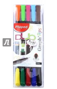 Капиллярные ручки Graph Peps Duo (10 цветов, 5 штук, двусторонние) (749250)Наборы капиллярных ручек<br>Капиллярные ручки двусторонние.<br>В наборе 10 цветов, 5 штук.<br>С треугольным заблокированным пишущим узлом для тонкого письма и раскрашивания.<br>Трехгранный корпус.<br>Сверхтонкий металлический стержень: 0,4 мм.<br>Сделано в Китае.<br>