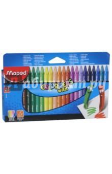 Мелки восковые Colorpeps Wax (24 цвета) (861013)Мелки восковые<br>Мелки восковые.<br>В наборе 24 цвета.<br>В бумажном чехле.<br>Яркие цвета.<br>Эргономичная треугольная форма.<br>Сделано в Китае.<br>