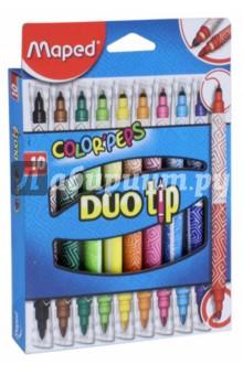 Фломастеры Colorpeps Duo Tip (10 цветов, двусторонние) (849010)Фломастеры 12 цветов (9—14)<br>Фломастеры двусторонние.<br>В наборе 10 цветов.<br>Тонкий наконечник для рисования и толстый наконечник для раскрашивания.<br>Сделано в Малайзии.<br>