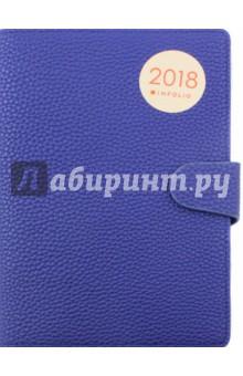 Ежедневник датированный на 2018 год InFolio. Palette (AZ474/dark-blue)Ежедневники датированные А5<br>Ежедневник датированный.<br>Обложка - мягкий переплет, суперобложка из искусственной кожи с магнитным клапаном, цвет - синий. <br>Блок - датированный, 352 страницы, прямые уголки, с ляссе, информационный блок, формат: 140х200 мм.<br>Сделано в России.<br>