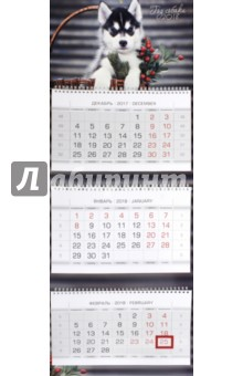 2018 Календарь квартальный. 3 блока, ЛЮКС, Собаки (3Кв3гр2_16873)Квартальные календари<br>Календарь квартальный 3-хблочный на 2018 год, на 3-х двойных гребнях, 2-хцветный блок, с бегунком.<br>