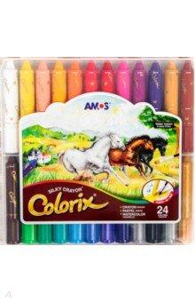 Мелки Три в одном (24 цвета) (19843)Мелки школьные<br>Мелки для детского творчества Три в одном.<br>Удобные мелки в пластиковом держателе позволяют рисовать 3-мя способами:<br>- как обычный восковой мелок,<br>- смешав два или более цветов получить эффект пастели,<br>- растушевать рисунок мокрой кисточкой и получить эффект акварели.<br>Подходят для использования на бумаге и холсте.<br>Мелки не пачкают руки, экономично расходуются, не имеют запаха.<br>В наборе 24 цвета.<br>Для детей от 4-х лет.<br>Изготовлено в Корее.<br>