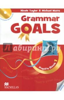 Grammar Goals Level 1 Pupils Book (+CD)Изучение иностранного языка<br>Книга для учащегося состоит из 10 разделов и рассчитана на программу изучения английской грамматики от 1 часа в неделю. После каждого второго раздела представлены задания экзаменационного образца и задания на развитие навыков письма. В конце учебника дан грамматический справочник и список слов по разделам. Введение грамматики осуществляется через контекст, работа над грамматическими правилами даётся в интерактивной форме. Грамматические задания разделены на три уровня сложности (Бронзовый, Серебряный, Золотой), а тексты имеют звуковое сопровождение. <br>CD-ROM, включённый в Книгу для учащегося, содержит 50 интерактивных упражнений на отработку грамматического материала с удобной системой мониторинга результатов.<br>