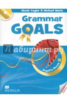 Grammar Goals Level 2 Pupils Book (+CD)Изучение иностранного языка<br>Книга для учащегося состоит из 10 разделов и рассчитана на программу изучения английской грамматики от 1 часа в неделю. После каждого второго раздела представлены задания экзаменационного образца и задания на развитие навыков письма. В конце Книги для учащегося дан грамматический справочник и список слов по разделам. Введение грамматики осуществляется через контекст, работа над грамматическими правилами даётся в интерактивной форме. Грамматические задания разделены на три уровня сложности (Бронзовый, Серебряный, Золотой), а тексты имеют звуковое сопровождение. <br>CD-ROM, включённый в Книгу для учащегося, содержит 50 интерактивных упражнений на отработку грамматического материала с удобной системой мониторинга результатов.<br>
