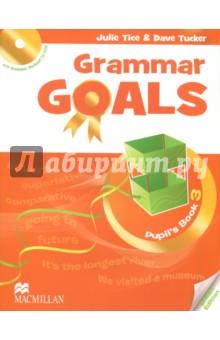 Grammar Goals Level 3 Pupils Book (+CD)Изучение иностранного языка<br>Книга для учащегося состоит из 10 разделов и рассчитана на программу изучения английской грамматики от 1 часа в неделю. После каждого второго раздела представлены задания экзаменационного образца и задания на развитие навыков письма. В конце Книги для учащегося дан грамматический справочник и список слов по разделам. Введение грамматики осуществляется через277 контекст, работа над грамматическими правилами даётся в интерактивной форме. Грамматические задания разделены на три уровня сложности (Бронзовый, Серебряный, Золотой), а тексты имеют звуковое сопровождение. <br>CD-ROM, включённый в Книгу для учащегося, содержит 50 интерактивных упражнений на отработку грамматического материала с удобной системой мониторинга результатов.<br>