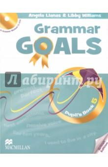 Grammar Goals Level 5 Pupils Book (+CD)Изучение иностранного языка<br>Книга для учащегося состоит из 10 разделов и рассчитана на программу изучения английской грамматики от 1 часа в неделю. После каждого второго раздела представлены задания экзаменационного образца и задания на развитие навыков письма. В конце Книги для учащегося дан грамматический справочник и список слов по разделам. Введение грамматики осуществляется через контекст, работа над грамматическими правилами даётся в интерактивной форме. Грамматические задания разделены на три уровня сложности (Бронзовый, Серебряный, Золотой), а тексты имеют звуковое сопровождение. <br>CD-ROM, включённый в Книгу для учащегося, содержит 50 интерактивных упражнений на отработку грамматического материала с удобной системой мониторинга результатов.<br>