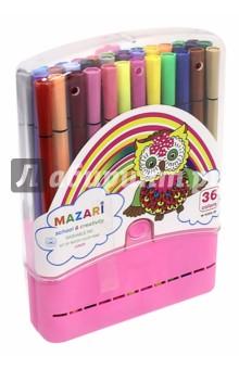 Фломастеры Junior (36 цветов) (М-5055-36)Фломастеры более 30 цветов<br>Фломастеры.<br>В наборе 36 цветов.<br>Характеристики: <br>- смываемые чернила<br>- корпус пластиковый,<br>- в пластиковом пенале.<br>Состав: фибра, пластик, чернила.<br>Сделано в Китае.<br>