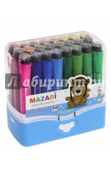 Фломастеры Fantasy (24 цвета, со штампами) (М-5060-24)Фломастеры 24 цвета (21—30)<br>Фломастеры со штампами.<br>В наборе 24 цвета.<br>Характеристики: <br>- штамп в колпачке,<br>- корпус пластиковый,<br>- в пластиковом пенале.<br>Состав: фибра, пластик, чернила.<br>Сделано в Китае.<br>
