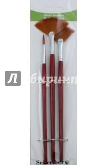 Набор кистей (3 штуки, синтетика, № 2, 4, 6, веерные) (S-1717)Набор кистей<br>Набор кистей нейлоновых плоских веерных и круглых, с деревянной рукояткой.<br>В наборе 3 штуки.<br>Номера 2 (круглая), 4, 6.<br>Материал: древесина, металл, нейлон.<br>Сделано в Китае.<br>