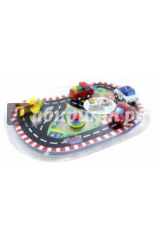 Игрушка для ванны Гонки (809R)Игрушки для ванной<br>Игрушка для ванны.<br>В наборе: коврик для ванной из ЭВА, 5 транспортных средств.<br>Для детей от 2-х лет. <br>Страна изготовитель: Китай.<br>