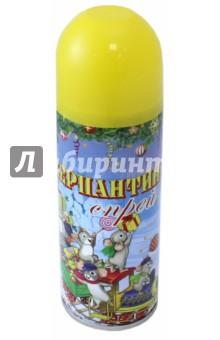 Серпантин синтетический  в спрее желтый (75804)Аксессуары для праздников<br>Синтетический серпантин желтый в спрее для новогоднего декорирования <br>Состав: стеариновая кислота, вода, диметиловый эфир, глицерин, этанол смолы, красители <br>5.2x17/ 250мл <br>Сделано в Китае<br>