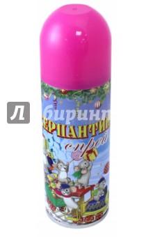 Серпантин синтетический  в спрее розовый (75801)Аксессуары для праздников<br>Синтетический серпантин розовый в спрее для новогоднего декорирования <br>Состав: стеариновая кислота, вода, диметиловый эфир, глицерин, этанол смолы, красители <br>5.2x17/ 250мл <br>Сделано в Китае<br>
