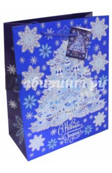 Пакет бумажный 26х32.4х12.7 см Елочка в голубом (75373)Подарочные пакеты<br>Бумажный пакет  с 2-х цветным тиснением Елочка в голубом для сувенирной продукции <br>С ламинацией.<br>Ширина основания: 26 см.<br>Плотность бумаги 250 г/м2.<br>Размер: 26х32,4х12,7 см.<br>Сделано в Китае.<br>