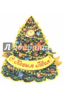Украшение новогоднее Красавица елка (75170)Новогодние сувениры<br>Новогоднее оконное украшение Красавица елка из картона <br>Плотность: 300 гр/м2. <br>Двустороннее, двухслойное, декорировано одноцветным глиттером <br>Размер: 45x34см<br>