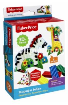 Набор 3D-лепка Жираф и Зебра (03255)Наборы для лепки с игровыми элементами<br>В наборе для лепки представлены две фигурки, которые можно использовать, как основу для раскрашивания пластилином. Цветная двусторонняя печать на плоских фигурках служит подсказкой, но не ограничивает полет фантазии и возможность импровизации.  Фигурки могут быть установлены на ножки, превращаясь в игрушки. Пластилина вполне достаточно, чтобы при желании сделать получившуюся фигурку объемной.  Бумажная пирамидка, входящая в набор как подарок, содержит интересные приемы работы с пластилином. Визуальное изображение позволяет освоить их даже начинающим, а уже более опытным -  расширить свои возможности. Набор будет полезен для развития сенсомоторики, умения работать на заданном пространстве.<br>В наборе: 2 фигурки, стека, пластилин (6 цветов).<br>Материал: пластилин, картон, полимерные материалы.<br>Для детей старше 3-х лет. <br>Не рекомендуется детям до 3-х лет. Содержит мелкие детали.<br>Сделано в России.<br>