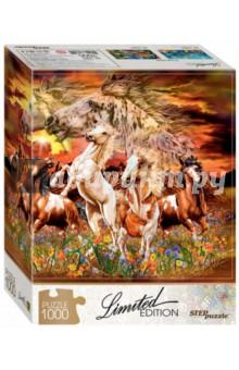 Puzzle-1000 Найди 16 лошадей (79802)Пазлы (1000 элементов)<br>Соберите пазл и постарайтесь найти всех лошадок! Интересно, как быстро это получится?<br>Пазл необычен тем, что все детали в нём уникальны по форме. Для каждой - строго своё место на общей картине. Соберите мозаику и убедитесь в этом сами!<br>Пазл понравится как любителям животных, так и истинным пазломанам. Цветочный ковёр, яркое краски заката - найти нужные детали будет непросто...<br>Limited Edition - серия пазлов с уникальной формой деталей.<br>Тираж ограничен. <br>Пазл состоит из 1000 элементов.<br>Размер: 68х48 см.<br>Материал: картон.<br>Рекомендуется детям старше 7-ми лет.<br>Запрещено детям до 3-х лет. Содержит мелкие детали.<br>Сделано в России.<br>