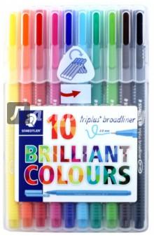 Набор капиллярных ручек 10 цветов, Triplus (338SB10)Наборы капиллярных ручек<br>Капиллярные ручки.<br>Количество цветов: 10.<br>Линия письма: 0,8 мм.<br>Трехгранная форма. <br>Яркие цвета.<br>Сделано в Германии.<br>