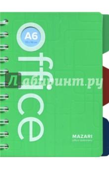 Блокнот Office (клетка, 100 листов, А6, с разделителями) (М-3621)Блокноты средние Клетка<br>Блокнот на двойной спирали, А6 (105х148мм).<br>3 разделителя.<br>100 листов, клетка.<br>Состав: бумага, металл, ПВХ.<br>Сделано в Китае.<br>