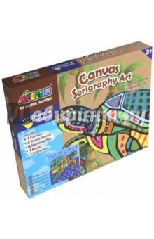 Большой набор для шелкографии Черепаха (CH1339)Роспись по ткани<br>Игровой набор для детского творчества из картона.<br>В наборе: 1 холст, 4 бумажных трафарета, 6 тюбиков с краской, 1 кисточка, 1 инструкция.<br>Для детей от 3-х лет.<br>Сделано в Китае.<br>