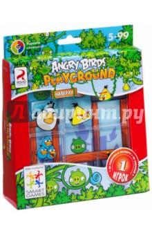 Игра Angry Birds Playground. Наверху (SG AB 430 RU)По мотивам сказок и мультфильмов<br>Забавная многоуровневая головоломка для детей и взрослых с любимыми героями. Здесь отменяются законы природы и все привычные повадки зверей. В этой игре злые птички намерены оседлать зеленых свиней! И свиньи нисколько не возражают, а ведь, помните, казалось, что война разъяренных птичек со свиньями не закончится никогда? Никаких рогаток не потребуется, передвигайте прозрачные пластмассовые детали с веселыми картинками до тех пор, пока все зеленые свинки не закроются сердитыми птичьими рожицами! В отличие от своего цифрового аналога, игра не требует компьютера или другого цифрового игрового гаджета, что делает ее особенно ценной для тех, кто хочет отдохнуть от мерцания утомительных мониторов.<br>В комплект входят: 24 карточки с заданиями, игровая доска с отделением для хранения карточек, правила игры.<br>Для детей от 5-ти лет. <br>Не рекомендуется детям до 3-х лет. Содержит мелкие детали.<br>Сделано в Китае.<br>