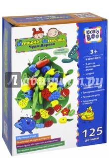 Игрушка-шнуровка Чудо-Дерево (67923)Шнуровки из пластика и пластмассы<br>Игрушка-шнуровка Чудо-Дерево состоит из 125 деталей. Эта увлекательная игра поможет ему совершенствовать моторику, развивать внимательность и усидчивость. Пришнуровывая различные по цвету и форме детали, малыш будет развивать логическое и образное мышление. <br>Основа, элементы и шнурок сделаны из качественных безопасных материалов.<br>Материал: пластик <br>Упаковка: картонная коробка<br>