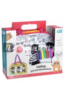 Cat. Сумка для раскрашивания Lovely cats (03319)Роспись по ткани<br>Сумка для раскрашивания Origami Cat  понравится самым творческим и креативным девочкам. Ведь такую сумочку можно раскрасить своими руками, выбрав цвета по своему желанию. Идет в комплекте с разноцветными водостойкими маркерами, на самой сумочке нанесены контуры для раскрашивания. Аксессуар не стоит стирать в стиральной машине, однако можно протирать поверхность влажной тряпочкой. <br>В комплекте: сумочка с контурным рисунком,  водостойкие маркеры 6 шт.<br>
