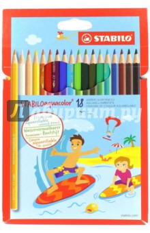 Карандаши 18 цветов AQUACOLOR акварельные (1618-6)Цветные карандаши 18 цветов (15—20)<br>Для создания рисунков с эффектом акварельных красок надо растушевать рисунок кистью с водой или увлажнить бумагу перед рисованием. Идеально подходит для рисоваия в качестве классического цветного карандаша благодаря насыщенным цветам и мягкому грифелю, обеспечивающему легкость нанесения и отличную смешиваемость цветов.<br>Сделано в Германии.<br>