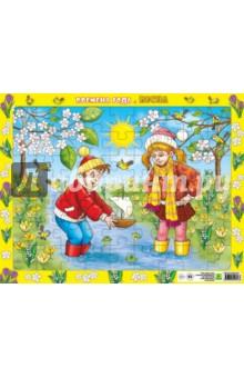 Детский пазл на подложке Времена года. Весна (63 элемента)Пазлы (54-90 элементов)<br>Детский пазл на подложке.<br>Размер: 36х28 см.<br>Количество элементов: 63<br>Материал: картон.<br>Для детей от 3-х лет.<br>