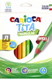 Набор пластиковых карандашей Tita Maxi (12 цвета, трехгранные) (42791)Цветные карандаши 12 цветов (9—14)<br>Наши карандаши обеспечивают супергладкое письмо, обладают яркими цветами и прекрасной отделкой. Крепкий грифель не ломается при падении.<br>В наборе 12 цветов.<br>Диаметр: 4 мм.<br>Трехгранный корпус.<br>Легко затачиваются.<br>Сделано в Китае.<br>