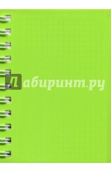 Записная книжка Notebook 120 листов, А6, пластик САЛАТОВАЯ (45049)Записные книжки средние (формат А6)<br>Записная книжка.<br>Формат: А6.<br>Количество листов: 120.<br>Линовка: клетка.<br>Пластиковая обложка на спирали.<br>3 разделителя из пластика.<br>Сделано в России.<br>