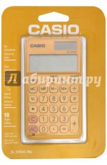Калькулятор карманный (10 разрядов, оранжевый) (SL-310UC-RG-S-EC)Калькуляторы<br>Калькулятор карманный.<br>Общие данные:<br>10-разрядный LCD-дисплей с подсветкой и отображением задействованных функций;<br>Двойное питание (солнечная и аккумуляторная батареи);<br>Размер: 0,8x7x11,8 см.;<br>Пластиковые клавиши;<br>Цвет: оранжевый.<br>Функции:<br>Функция вычисления маржи, %<br>Подсчет времени<br>Вычисление налогов<br>4 кнопки памяти<br>Разделитель групп разрядов (по 3 цифры)<br>Клавиша +/-<br>Клавиша возврата на одну позицию<br>Вычисление квадратного корня<br>В комплект входит чехол.<br>Сделано в Китае.<br>