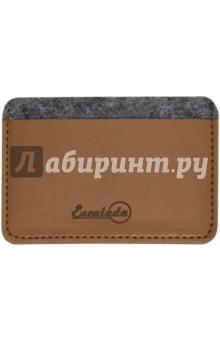 Чехол для пластиковых карт (фетр, 95 х 67 мм, графитово-коричневый) (45287)